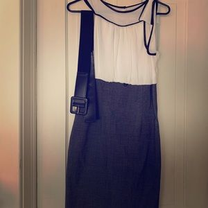 White/charcoal dress with black belt.